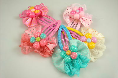 """Wholesale 5p girl baby toddler 5"""" boutique Hair Bow mixed ribbon with clips we0w"""