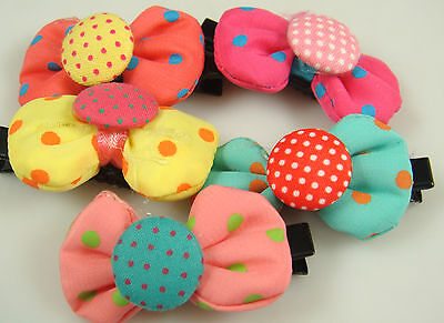"""Wholesale 5p girl baby toddler 5"""" boutique Hair Bow mixed ribbon with clips 8y2"""