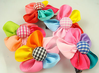"""Wholesale 5p girl baby toddler 5"""" boutique Hair Bow mixed ribbon with clips m9Bq"""