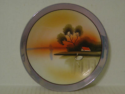 VINTAGE NIPPON HAND PAINTED SMALL PLATE WITH SWAN ON LAKE AND HOUSE TREE SCENE