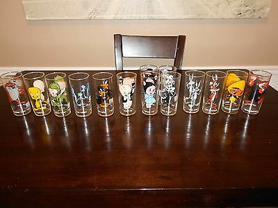 PEPSI CARTOON GLASSES WARNER BROS. 1973 - LOT OF 14- NEVER BEEN USED