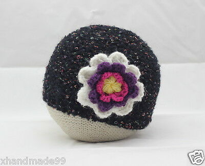 New knit Crochet Hat Beanie Flower Cap Toddler baby A09