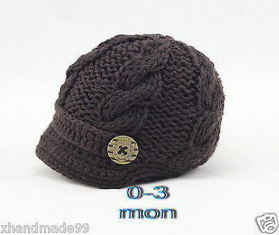 Handmade Knitting Beanie Hat Newsboy Toddler boy baby 0-3 months brown
