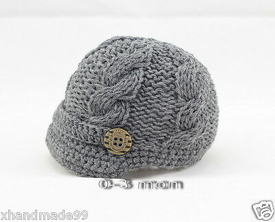 Handmade Knitting crochet Beanie Hat Newsboy Toddler boy baby 0-3 months gray