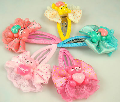 """Wholesale 5p girl baby toddler 2.5"""" boutique Hair Bow mixed ribbon with clips aa"""