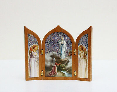 Tabletop Triptych Travel Shrine Virgin Mary OUR LADY OF LOURDES  Made in Italy