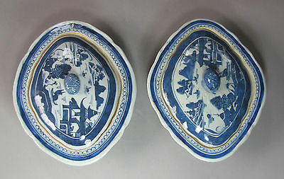 A Pair of Very Fine Chinese Blue/White Canton Export Tureens-19th C.: