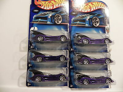 2004  Hot Wheels LOT of  6  FIRST EDITIONS BATMOBILE Black BASE #001 1:64 purple