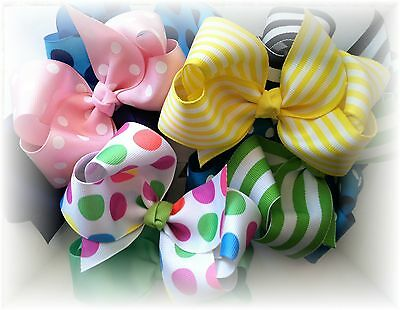 Lot 12 Boutique Hair bows 5 inch  Pick from Chevron,solids,stripes.dots,prints