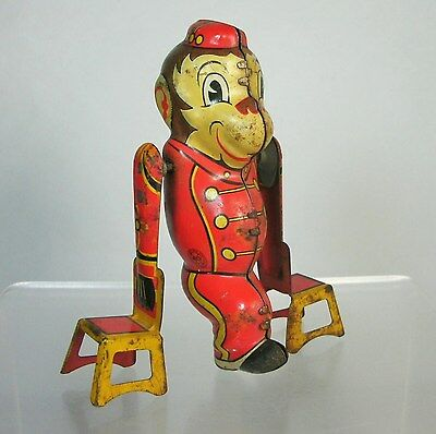 Dl Vtg MARX Tin Litho TUMBLING BELLHOP MONKEY w/CHAIRS Wind Up Toy PARTS REPAIR