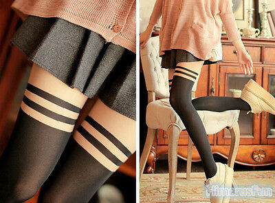 Fashion Women Stocking Pantyhose Mock Over The Knee Double Stripe Sheer Tights