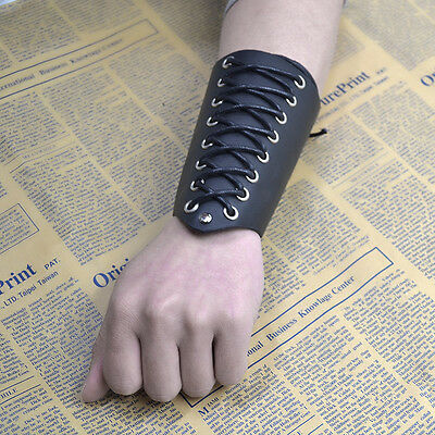 Cross Strings Black Leather Bracer Arm Armor Cuff Gothic Punk Cosplay Wristband