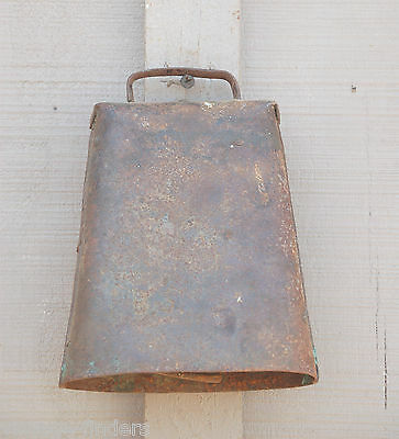 Old Vintage Primitive Hand Forged Cow Bell w Clapper Country Farm Tool Decor a