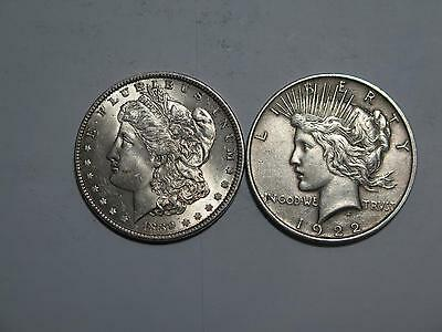 2- 1889 1922 P PEACE MORGAN DOLLAR 90% JUNK SILVER UNITED STATES US COIN LOT