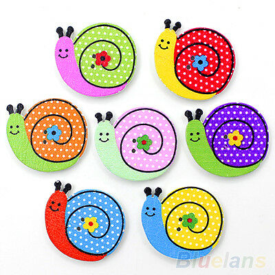 50X Fantastic Sewing Animal Dog Snail Wood Buttons Kids Diy 2 Holes Knopf Bouton