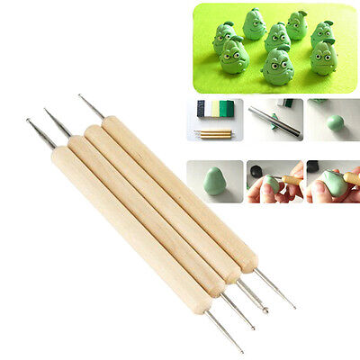4 Ball Stylus Polymer Clay Wood Steel Pottery Ceramics Sculpting Modeling Tools