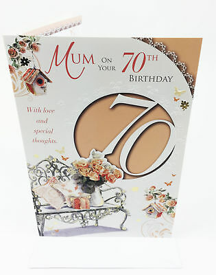 MUMS 70TH BIRTHDAY Card Greeting Card Envelope Seal Age Quality