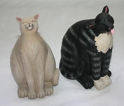 Carved Cat Figurine Set of 2 Signed Dotty Chase Whiskers Beige Black Resin Kitty