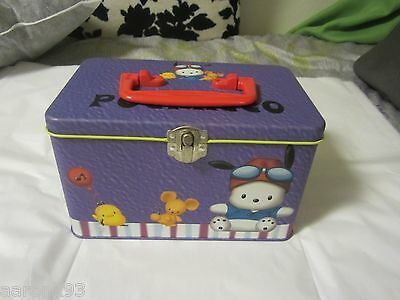 1999 Vintage Sanrio Pochacco Metal/Tin Carrying Case w/ Removable Plastic Tray