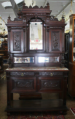 Gorgeous French Carved Brittany Walnut Marble Top Court Cabinet Breakfront C1880