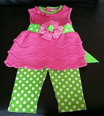 Mud Pie 0-6 months baby girl pink polkadots set dress leggings EUC spring outfit