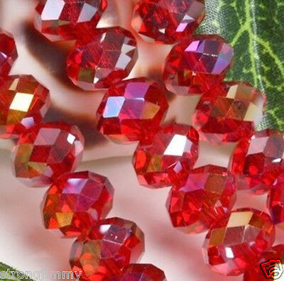 HOT SELL 6*8mm Red Multicolor AB Swarovski Crystal Loose Beads 70pcs