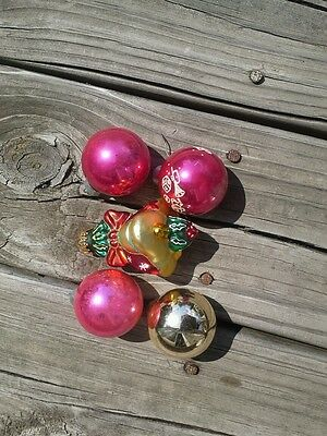 Vintage Christmas ornaments Mercury  glass  bulbs misc  old lot of 5 bell  pink