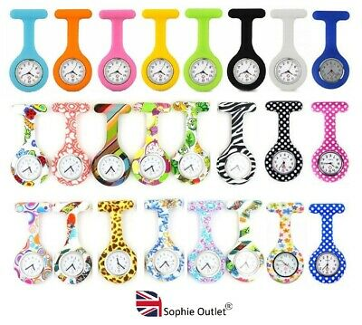 Ladies Gents Steel Silicone Nurse Watch Fob Watch Brooch Pin Doctor Vet Medical