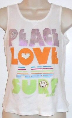 """Tween Justice ribbed scoop-neck tank top L/14 """"PEACE LOVE AND SURF"""" w brads"""