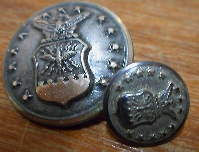2 ww2 SILVER BUTTONS~SCOVILL WATERBURY SHIELD EAGLE MINTY air force MILITARY