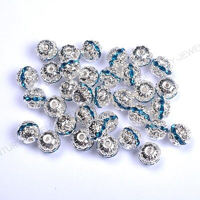 10pcs Peacock Blue Quality Czech Crystal SILVER PLATED Charms Spacer BEADS 8MM