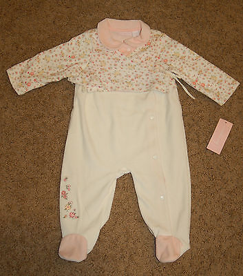 NWT Infant Girl First Impressions Peach embroidered Velour outfit size 6-9M LQQK