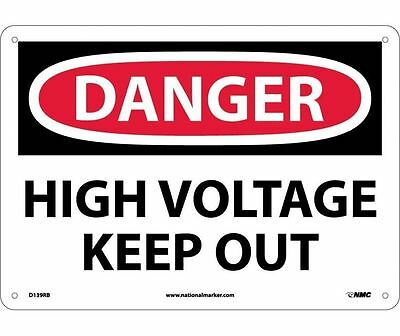 "NMC D139RB Safety Sign ""DANGER HIGH VOLTAGE KEEP OUT"" 10"" X 14"" Rigid Plastic"