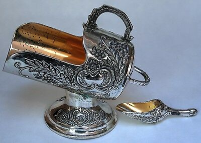 Ornate Silver Plate Sugar Scuttle With Gold Tone - Includes Scoop - F.B. Rogers