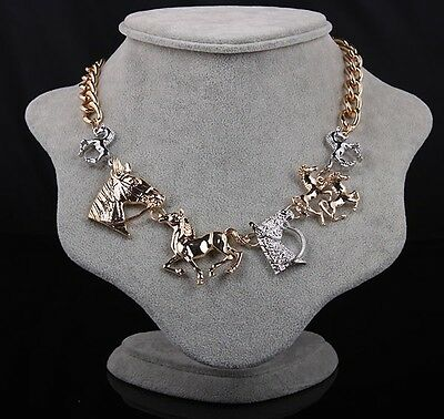 Fashion Occident Style Golden Cute Clear Horse Head Antique Bib Choker Necklace
