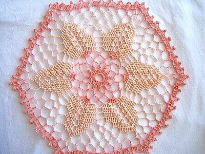 Dark n Light Peach Colored Flower Hand Crocheted Round Octagon Doily 11 inch