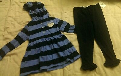 NWT Guess Girls 2 Piece Outfit Blue Striped Baby Doll Top & Ruffled Leggings 24m