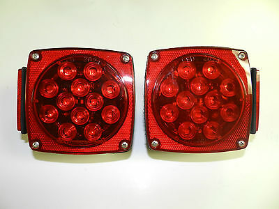 """Truck Trailer under 80"""" LED Square Trailer Tail Lights Stud Mount, (1) pair"""