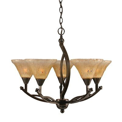 Cambridge 5-Light Oynx 23.5 in. Chandelier with Amber Crystal Glass
