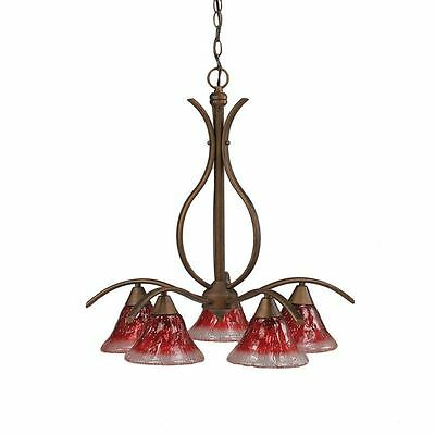 Cambridge 5-Light Bronze 23.5 in. Chandelier with Raspberry Crystal Glass Shade