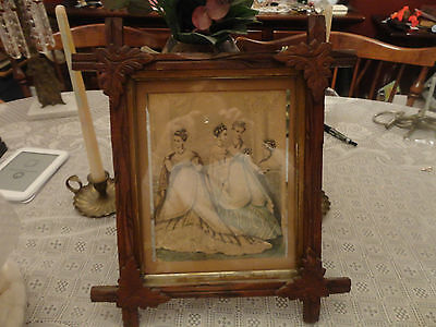 Antique Wood Carved Frame With Leaves w Antique Signed Color Tint Engraving