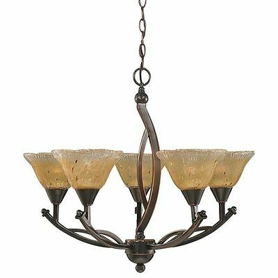 Cambridge 5-Light Black Copper 24.25 in. Chandelier with Amber Crystal Glass