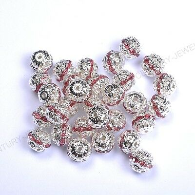 10pcs Pink Quality Czech Crystal SILVER PLATED Charms Spacer BEADS 6MM