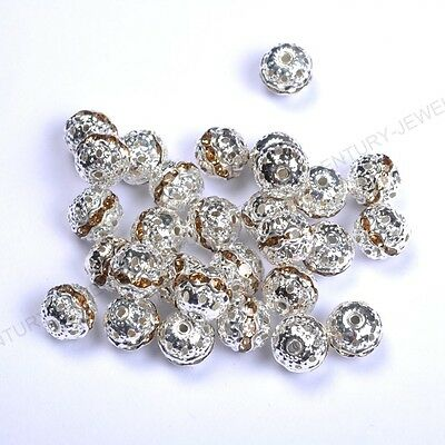 10pcs light Coffee Quality Czech Crystal SILVER PLATED Charms Spacer BEADS 8MM