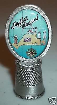 Martha's Vineyard MA Collectors Souvenir Pewter Thimble Map Lighthouse in Case