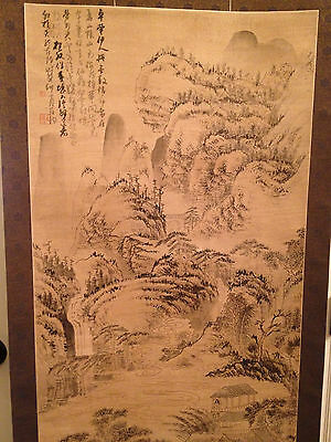 A Chinese Antique Painting Scroll on Paper, Artist Signed.