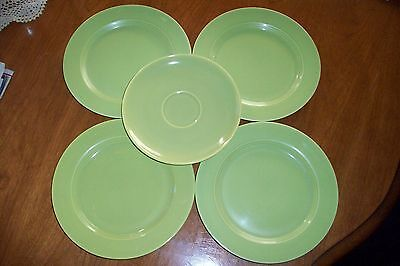 Vintage Laughlin HARLEQUIN saucers in Chartreuse Green