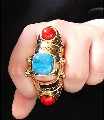 New Arrival Fashion Punk Resin Scroll Armor Joint Knuckle Bronze Finger Ring #7