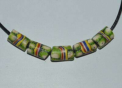 5 Venetian african trade beads - green chevron striped glass, antique old