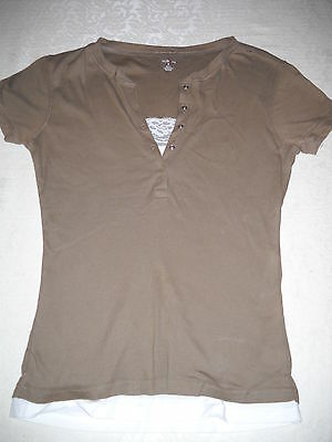 Womens Style One Layered Look Taupe/ Tan Shirt Top with White Lace Insert. S EUC